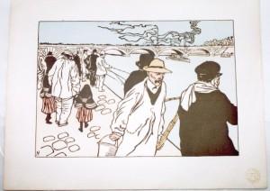 Charles Huard lithograph Pecheurs a la Ligne