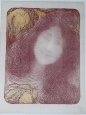 Edmond Aman-Jean lithograph Sous Les Fleurs
