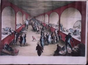 Edward Ardizzone lithograph Shelter Scene