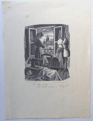 Frank Martin woodengraving Midinette