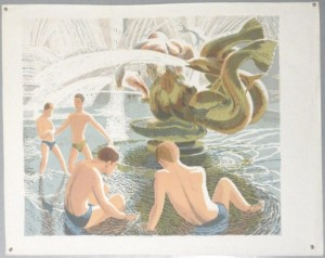James Cresser Tarr lithograph Bathing