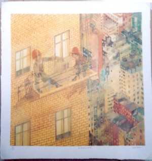 Leonard Rosoman lithograph The Backdrop New York