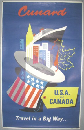 Nevin poster Cunard to USA & Canada