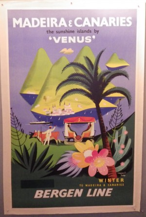 Raymond Tooby poster Madeira & Canaries Bergen Line