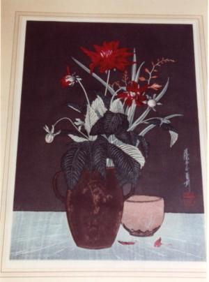 Yoshijiro Urushibara woodcut Carnations