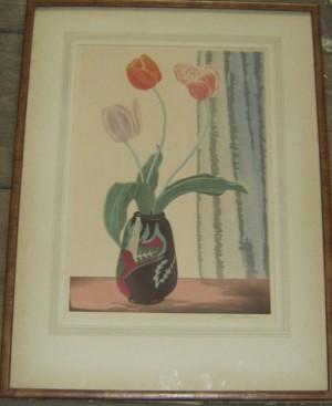Yoshijiro Urushibara woodcut Tulips