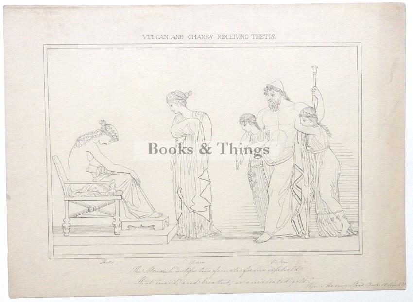 After John Flaxman drawing Vulcan & Chares receiving Thetis