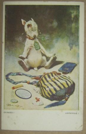 Bonzo with bag postcard