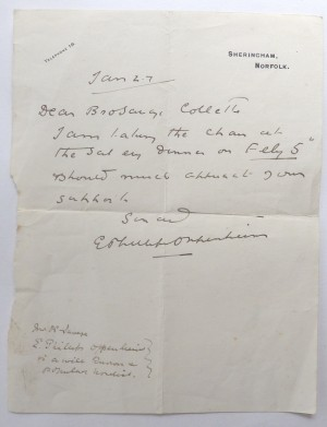 E Phillips Oppenheim signed letter