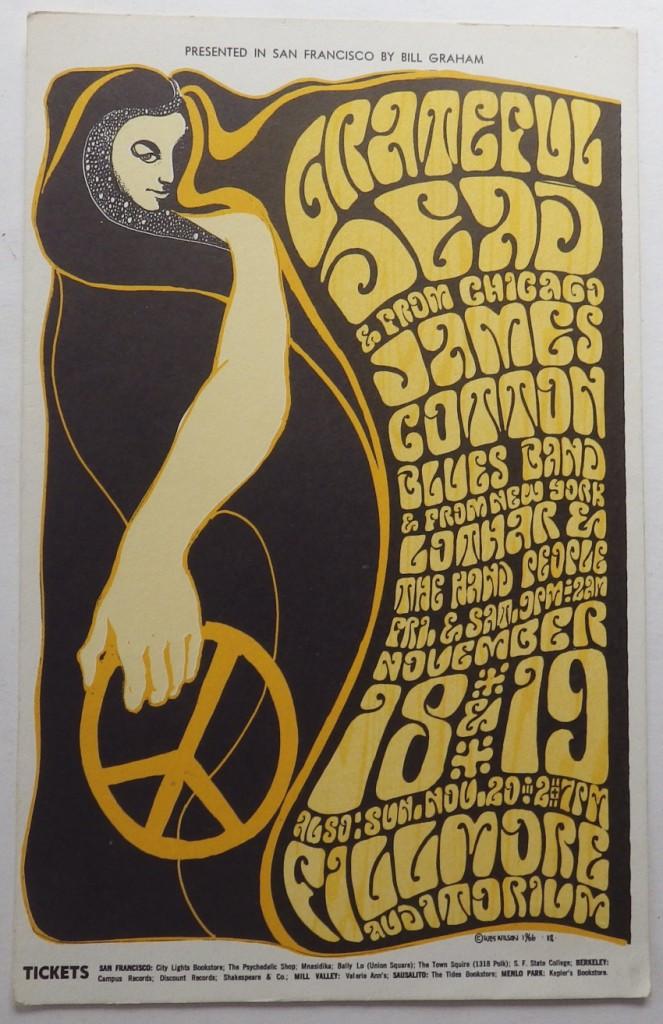 Grateful Dead Filmore concert postcard
