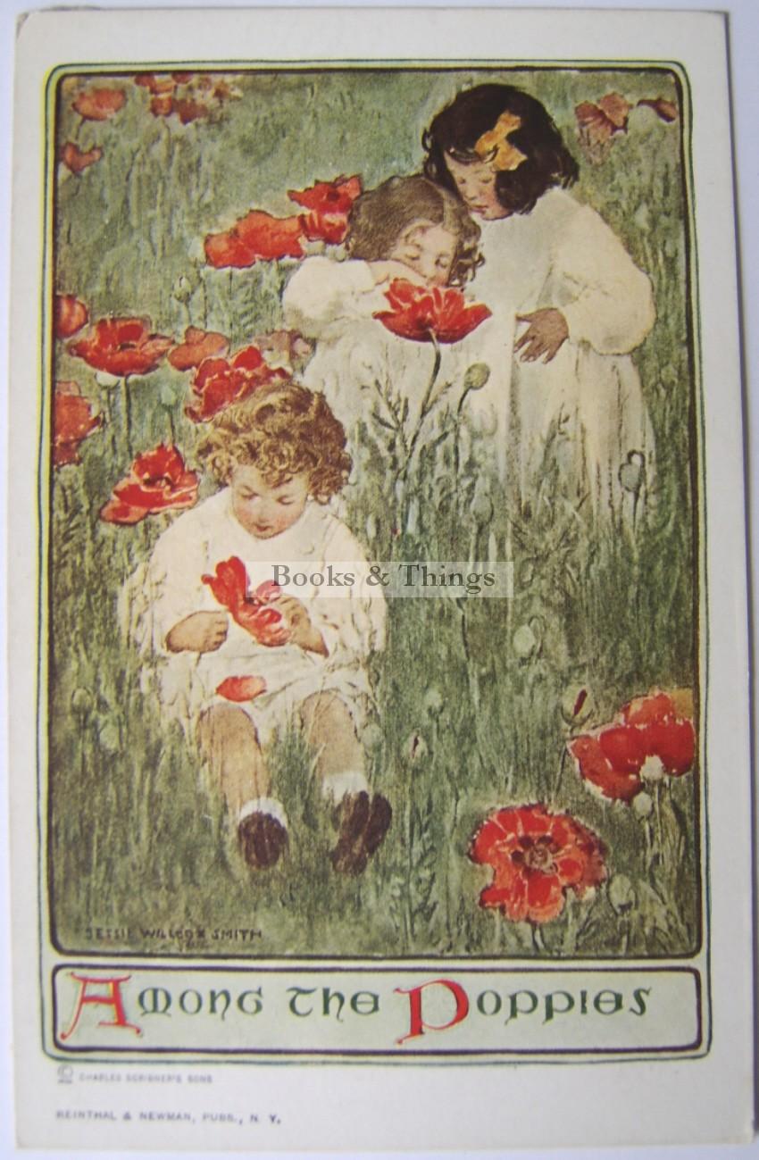 Jessie Wilcox Smith postcard Among the Poppies