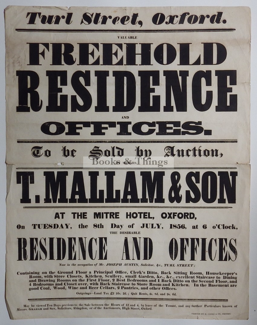 Mallam's auction poster Freehold Residence Turl St Oxford