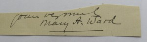 Mrs Humphrey Ward autograph