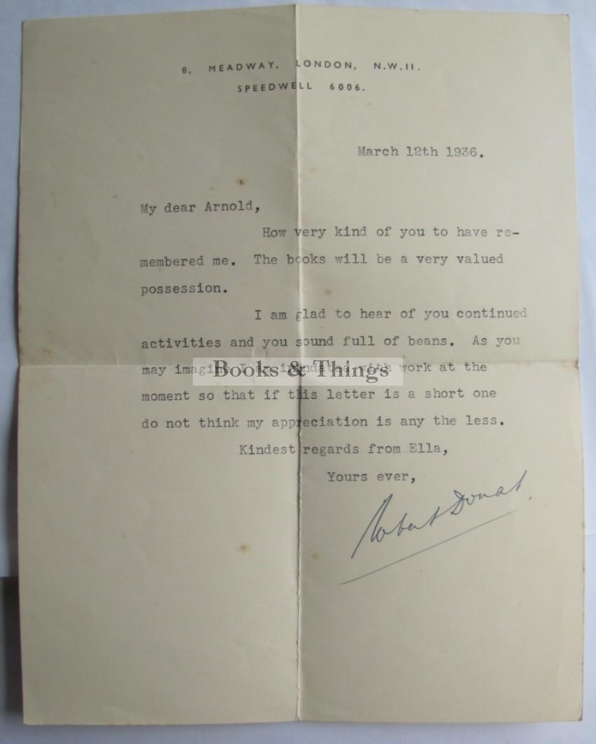 Robert Donat signed letter
