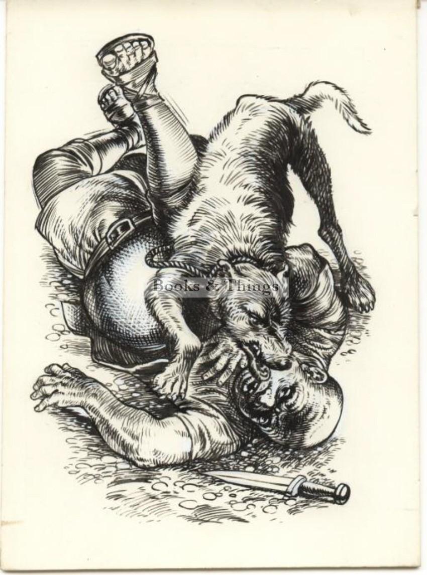 W. Francis Phillipps artwork Man & dog
