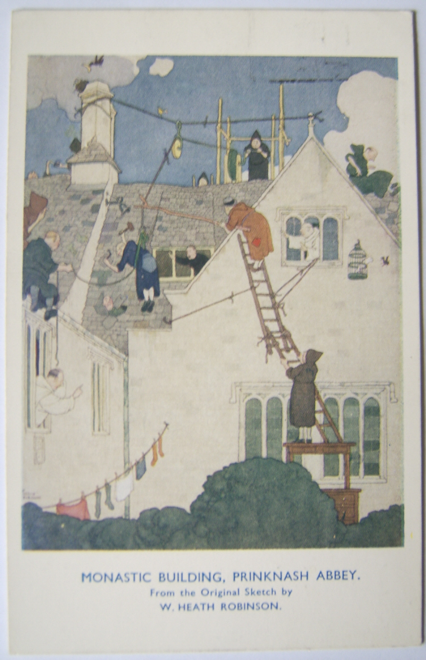 W. Heath Robinson postcard Prinknash Abbey