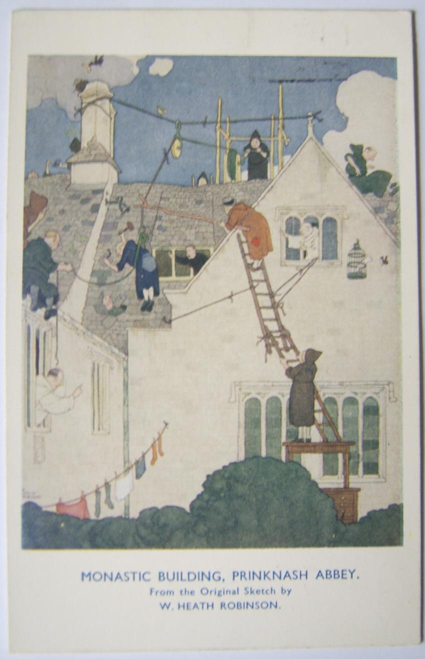 W. Heath Robinson postcard Prinknash Abbey
