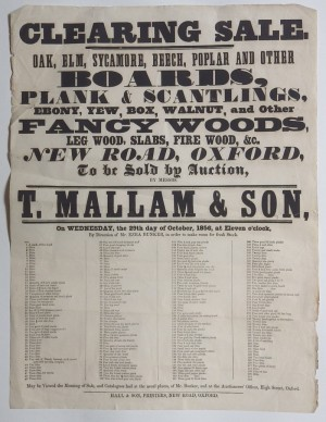 Mallam's sale poster 1856 timber