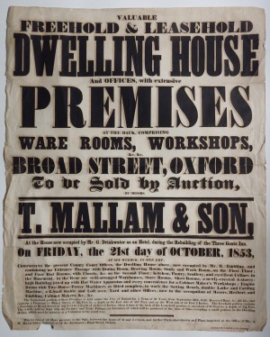 Mallam's sale poster 1853 Dwelling Broad St Oxford