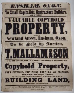 Mallam's sale 1856 Ensham property