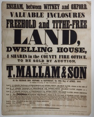 Mallams sale poster 1856 Ensham land
