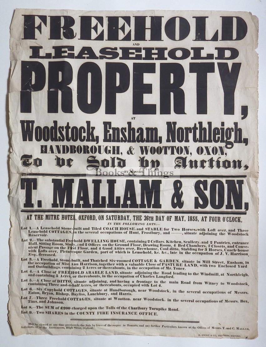 Mallam's sale poster 1855 Dwelling in Woodstock