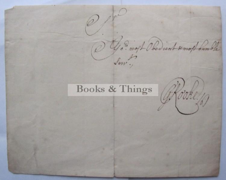 Sir George Rooke autograph
