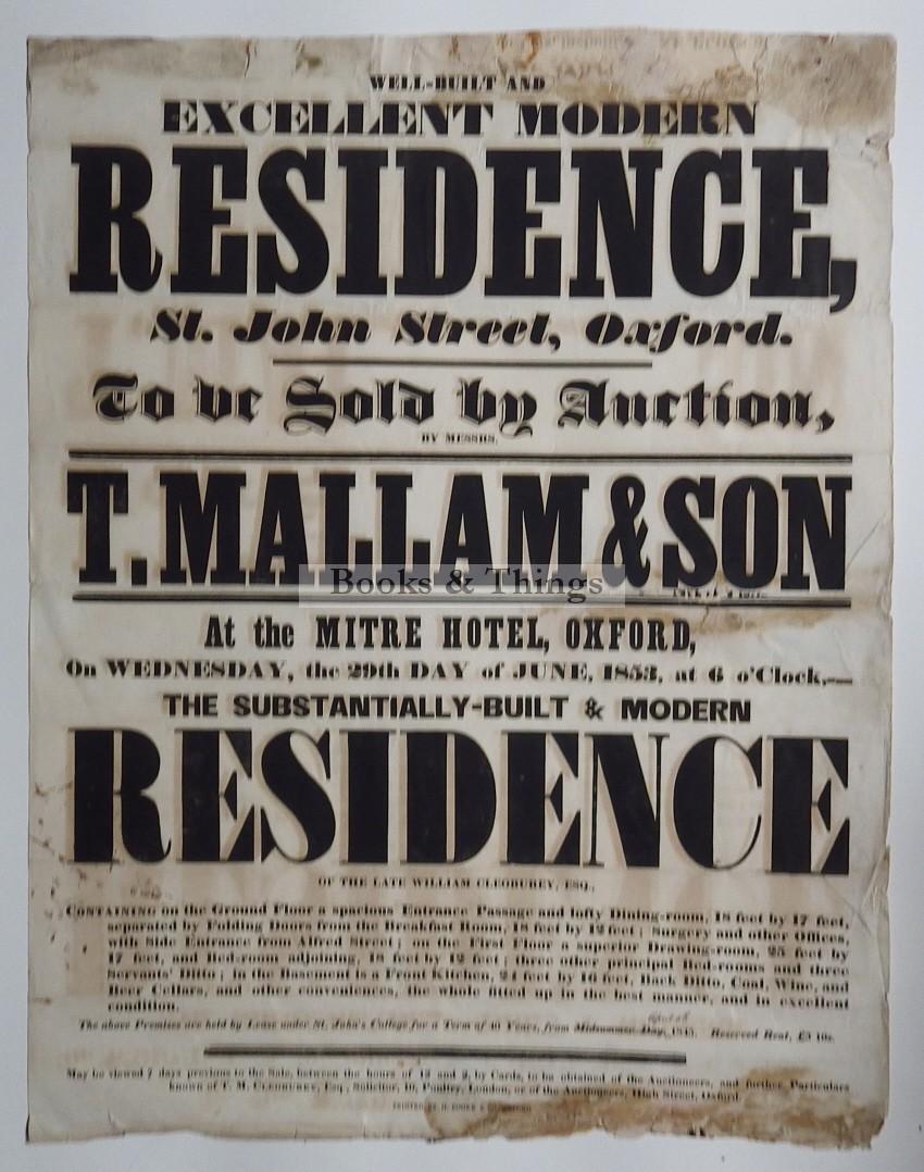 Mallam's sale 1853 St John St Oxford