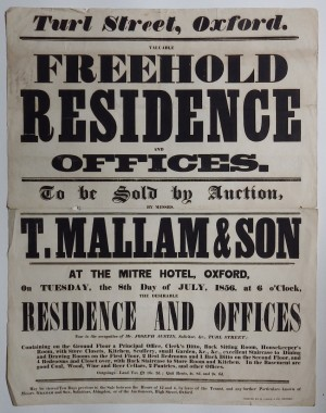Mallam's sale poster 1856 Residence Turl St Oxford