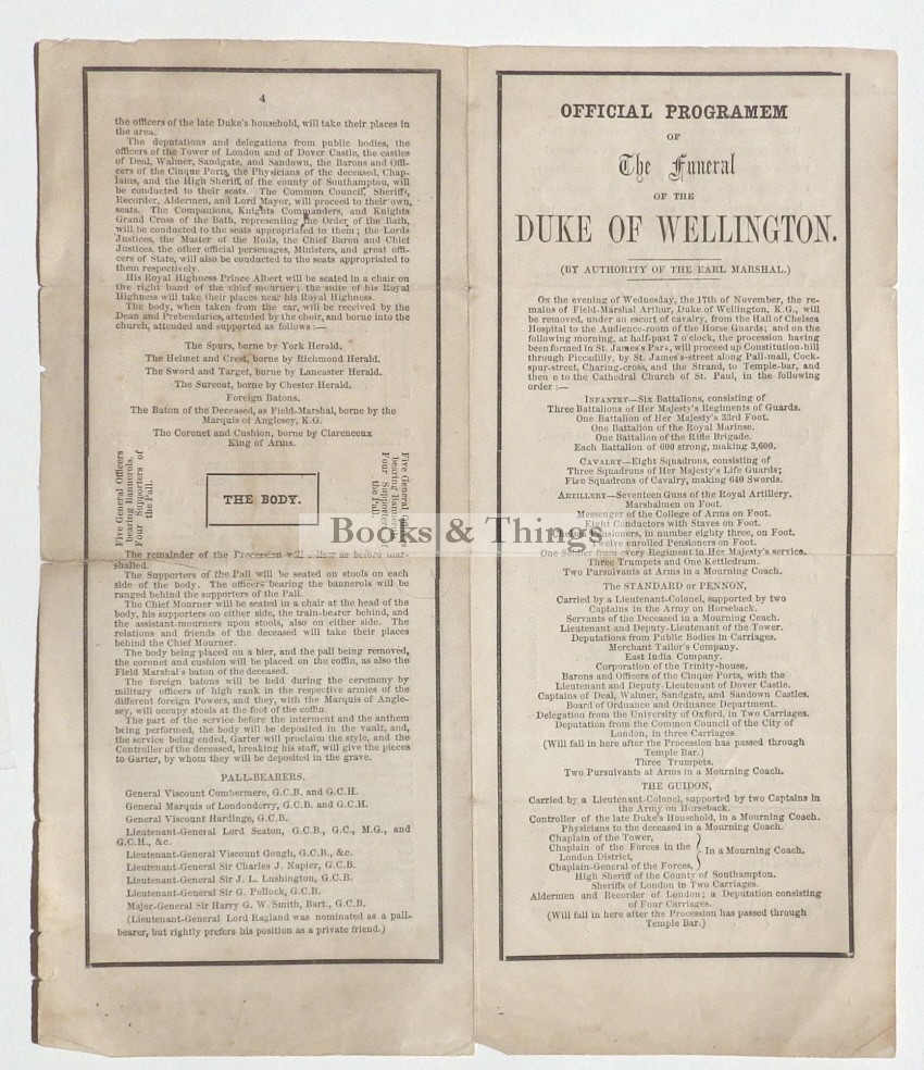 Duke of Wellington funeral service leaflet