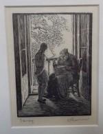 Gwen Raverat woodcut Sewing