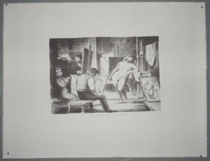 Edward Ardizzone lithograph The Model & her Reflection