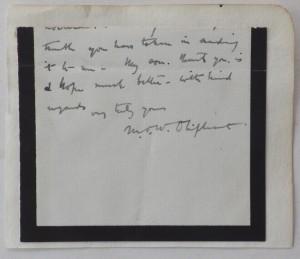 Mrs Oliphant autograph