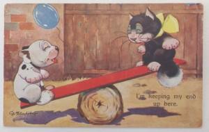 Bonzo postcard with cat
