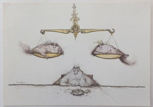 Ronald Searle card Cats