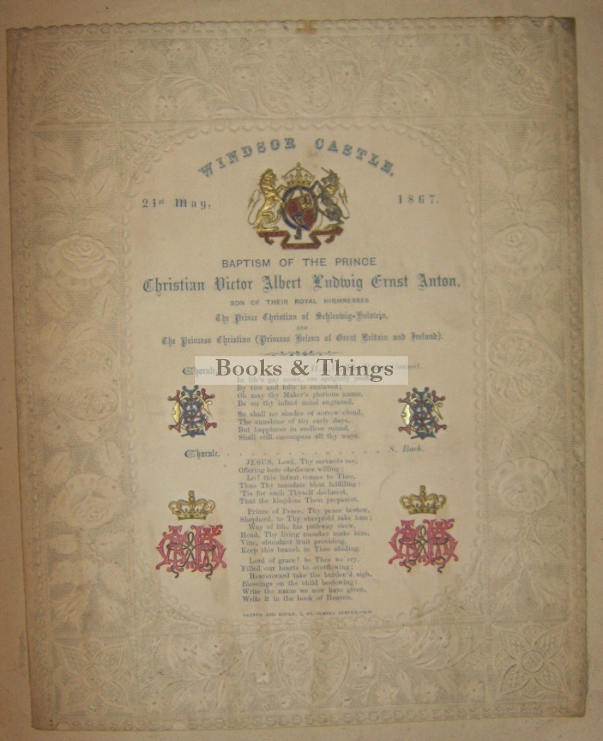 Windsor Castle Royal Baptism programme 1867