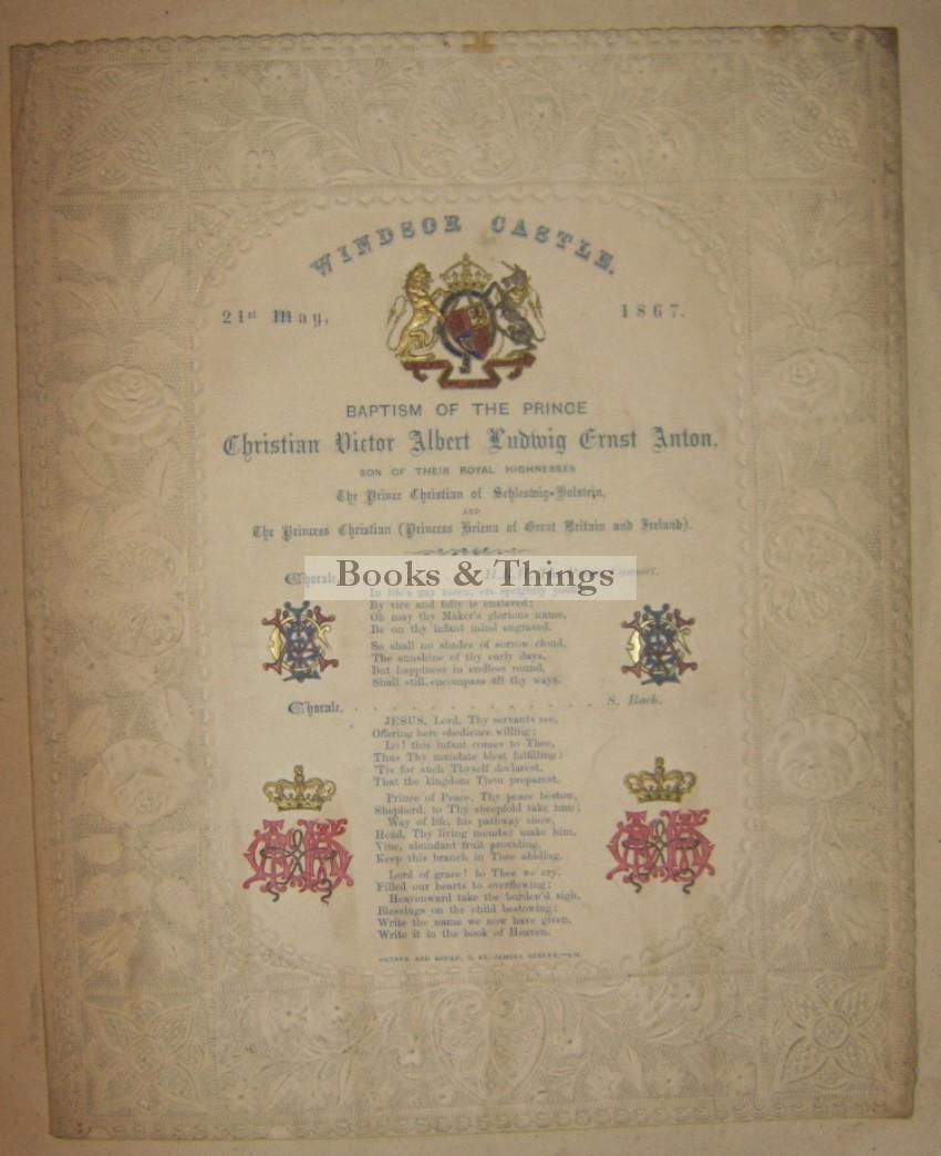 Windsor Castle Royal Baptism programme 1867
