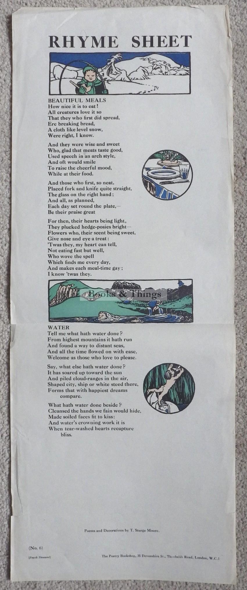 Thomas Sturge Moore rhyme sheet