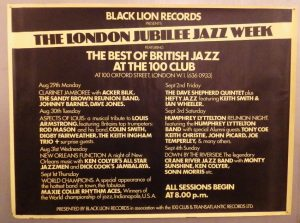 London Jubilee Jazz Week poster
