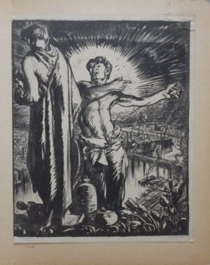 Frank Brangwyn lithograph Standing Personages