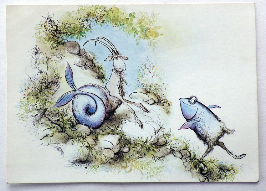 Ronald Searle Zodiac postcard
