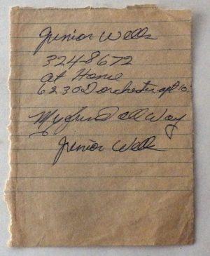Junior Wells autograph